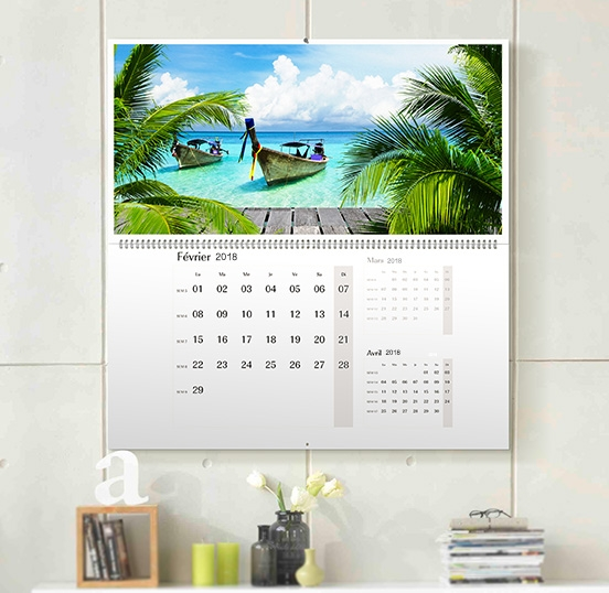 calendrier mural trimestriel double page personnalis avec vos photos. Black Bedroom Furniture Sets. Home Design Ideas