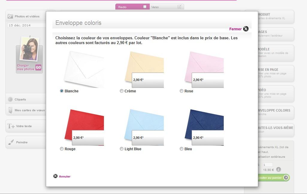 Les enveloppes contenant le faire-part sous différentes couleurs