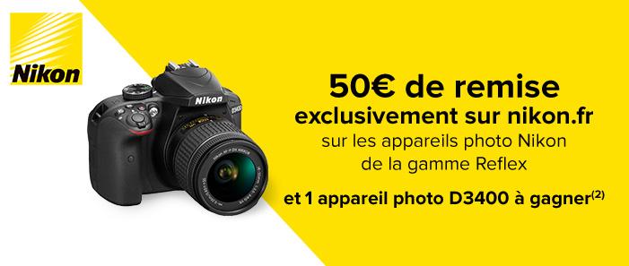 50€ de remise exclusivement sur nikon.fr
